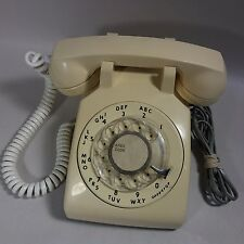 VINTAGE ITT Manila ROTARY DESK PHONE Telephone With Handset & Wall Cord