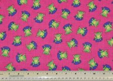 1/2 yard cotton quilt fabric green frogs on pink pond lily pad apparel crafts