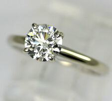 Diamond engagement ring 14K white gold solitaire E color round brilliant .85CT!!