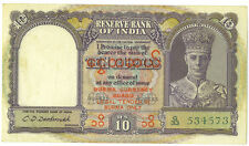 Burma Currency Board Reserve Bank of India 1947 10 Rupees P-32 Good VF+