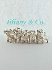 "RARE Vintage Tiffany & Co. 5 Dog Charm Bracelet 7.5"" - Solid Sterling Silver 925"