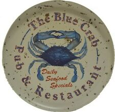 "The Blue Crab Pub & Restaurant Food Safe Tin Tray 12""D Nautical Tropical Home"