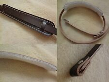 Vintage Leather Banjo Strap - Leather Loop Ends - Sheepskin Shoulder Pad - Brown