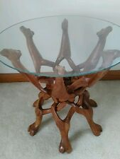 Costal Lake House Wood Wooden CAMEL Statues Sculpture Twisted Wood TABLE STAND