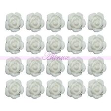 20 x Nail Art Acrylic 3D Resin Rose Flower Slices UV Gel Tips DIY Decor White