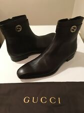 New Gucci Mens Brown Leather  Boots GG Metal Logo UK SZ 14.5 /US SZ 15 ❤️