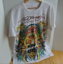 Ed Hardy Men's XXL 2X T-Shirt White Eagle Tigers Snakes Women Red Letters