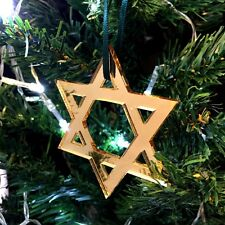 Mirrored Gold Star of David Christmas Tree Decoration - Pack of Ten