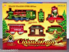 CHRISTMAS 16 PIECE BATTERY OPERATED CLASSIC SANTA TRAIN SET TOY TRACK WITH SMOKE