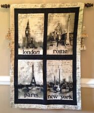 London Rome Paris New York City monuments Vintage inspired Tapestry Wall Hanging
