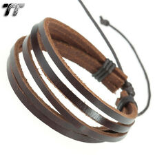 MENS T&T Brown Leather Bracelet Wristband NEW LB05