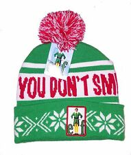 ELF  - You don't smell like SANTA hat with pom - NWT - Green red white TOBOGGAN
