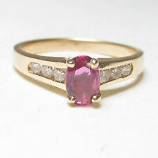Estate $1500 14K Yellow Gold 0.60 Ct Natural Oval Red Ruby And Diamond Ring