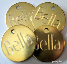 3 For £4.99 Engraved Horse Pony Rug/Bridle/Tack Cat or Dog Name Tags Brass 25mm