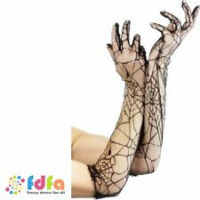 BLACK SPIDER LACE LONG GLOVES - ladies womens halloween fancy dress costume