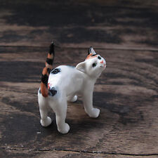 3-Colored Cat Figurine Cats Ceramic Collection Cat Pottery Animals Collectibles
