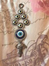 1PC Metal Turkish/Greek Eye Silver Elephant Animal Key Ring Large NEW