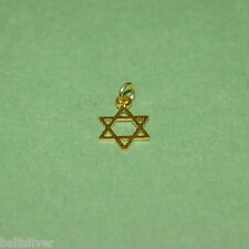 14kt GOLD FILLED Small 10mm STAR of DAVID with Stripes Charm Pendant