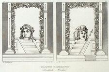 Masques Bachiques Bacchus Antiquité Théatre Gravure originale XIXème siècle