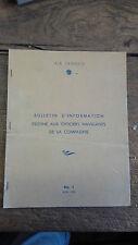 Bulletin d'information destiné aux officiers navigants compagnie Air France 1953