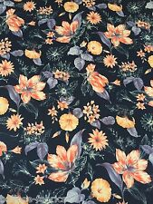 B059 - SPUN POLYESTER Navy Blue Lilly Flowers Print Jersey Stretch Dress Fabric