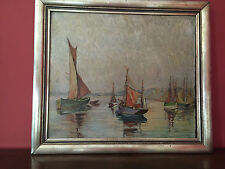 ANTIQUE IMPRESSIONIST BOATS AT SEA PAINTING  SIGNED REICHEL LISTED ARTIST ?