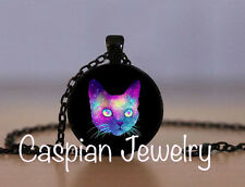 Fashion Mystical Galaxy Cat Pendant Necklace Top quality