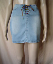 "WOMENS NIKITA LACE-UP BLUE DENIM MINI SKIRT UK SIZE 10 EU 38 [28""-30"" WAIST]"