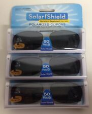12 SOLAR SHIELD Clip-on Polarized Sunglasses 50 Rec 5 Black Full Frame NEW