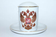 Russian Imperial Lomonosov Porcelain Tea mug & saucer Double-headed eagle Gold