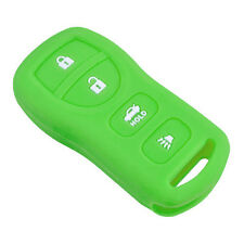 Fits NISSAN New Skin Jacket Silicone Remote Key Fob Cover Bag Holder-Green