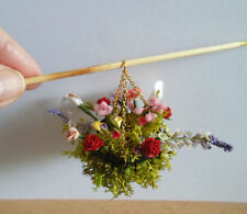 DOLLSHOUSE MINIATURE -BEAUTIFUL  HANDMADE HANGING BASKET