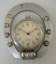 Brushed Steel 8 Day desk watch within a HORSE SHOE Stand. Circa 1890