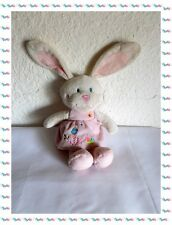I - Doudou Peluche Lapin Blanc  et Rose Broderies Tex Baby