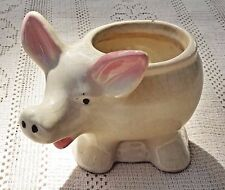 VINTAGE 1950's SHAWNEE ART POTTERY USA - PINK & WHITE LITTLE PIG PLANTER