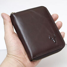 Leather Wallets For Mens Zip Around Purse Coin Pocket Credit Card Organizer