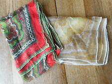 Scarf Vintage Lot of 2 Print Beautiful Colors Used inspect all pictures