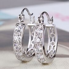 Fascinating lady Jewelry!18K white gold filled Swarovski Crystal huggie earring