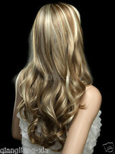hot Fashion New Charm Women's long Mix Blonde Curly Natural Hair wigs+gift