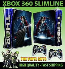 XBOX 360 SLIM THOR GOD OF THUNDER AVENGERS STICKER SKIN & 2 X CONTROL PAD SKINS
