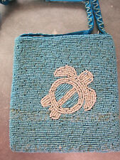 Turquoise beads with white Turtle Beaded Evening Bag Cell phone shoulder bag