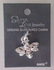 BBQueen Bee SILVER LANE Charm Sterling plated Ganz bumble bumblebee