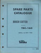 TANAKA BRUSH CUTTER MODEL TBC-160 SERIAL NO. E311740  PARTS MANUAL