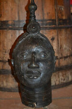Large mid- 20th century African Benin tribal bronze bust of King Obe, c1950
