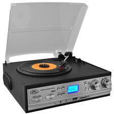 Classic Retro Style Turntable - Plays AM/FM Radio, Cassettes & MP3s - USB/SD