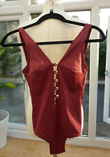 VINTAGE BURGUNDY RED BATHING SWIM SUIT WITH 5 GOLDTONE BUTTON FRONT DETAIL 8/10