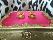 Betsey Johnson Vintage Nautical Sea Yellow Crab Critter Stud Earrings VERY RARE