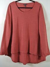 NEW EILEEN FISHER Tomato Red Swing-Back Merino Wool Sweater Size 1X