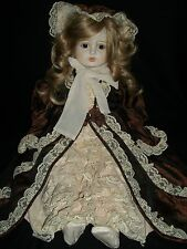 "Vtg Bibian et Damian Bisque 26"" Victorian Doll 1979 Blue Eyes Brown Dress Face"
