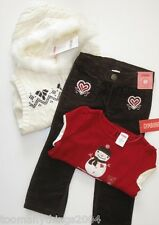 Gymboree Alpine Sweetie 18-24 New Sweater Vest Snowman Top Pants Girl Winter